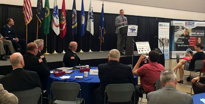 TRIBUNE PHOTO: PETER WONG - Cameron Smith, Oregon Department of Veterans Affairs director, at the Northwest Military Employer Summit on June 3 at Camp Withycombe in Clackamas.
