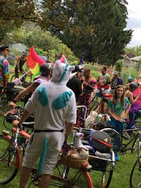 SUBMITTED PHOTOS: COLE RANDALL  - About 60 people of all ages gathered Saturday for the second annual Magical Unicorn Ride, one of the rides of Peddlepalooza.