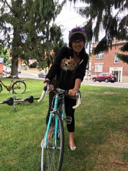 Dana Keele and her dog, Tilly, were ready to ride.
