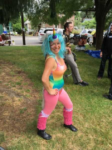 Riders in the Magical Unicorn Ride were encouraged to dress for the event. Kira Vinikas chose this colorful outfit.