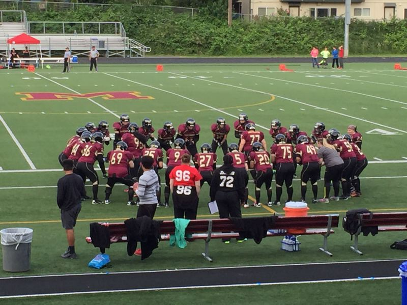 TRIBUNE PHOTO: RYAN CLARKE - The Portland Fighting Shockwave get set for their playoff game Saturday at Milwaukie High.