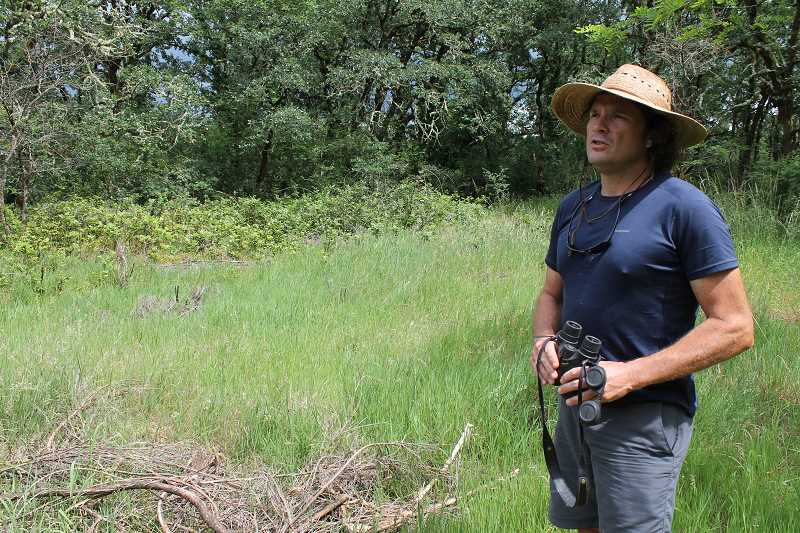 REVIEW PHOTO: ANTHONY MACUK - Willamette Riverkeeper director Travis Williams says Hog Island has a diverse collection of White Oaks and other native plants and bird life. He says he hopes more visitors can enjoy the islands scenery â€' but without leaving trash behind.