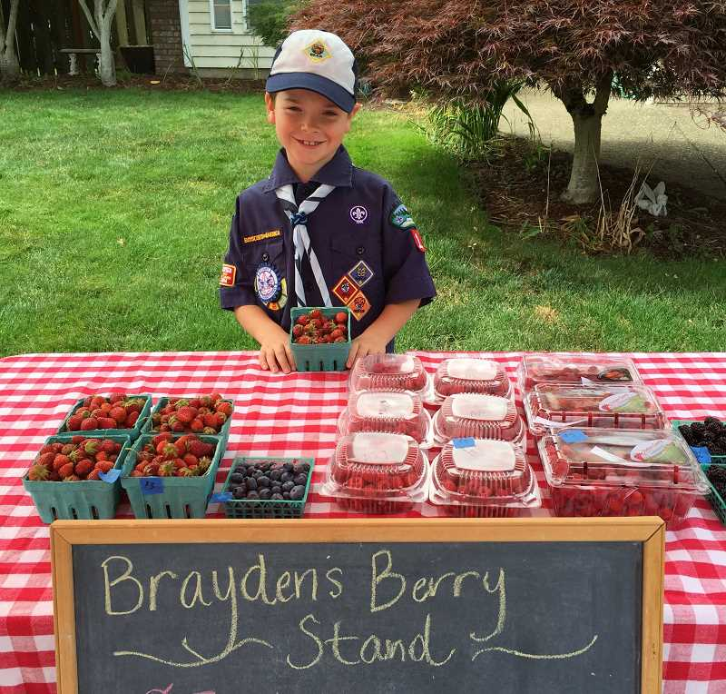 SUBMITTED PHOTO - Brayden stands behind his lemonade and berry stand decked out in his cub scout uniform.