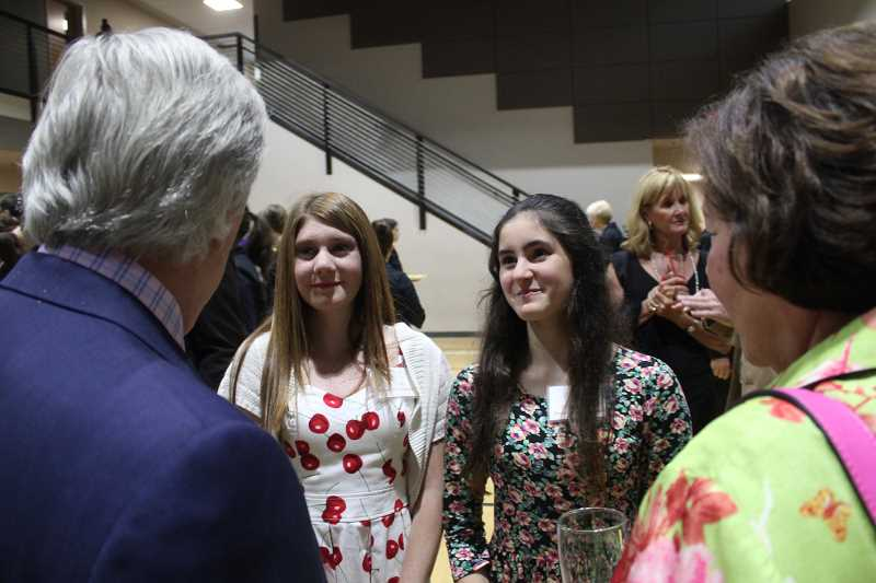 REVIEW PHOTO: KELSEY OHALLORAN - Park Academy students Zoe Davis (left) and Dylan Harvey said Henry Winkler told them that theyre smart kids.