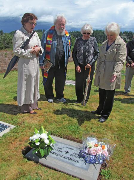 PHOTO BY ELLEN SPITALERI - Father Jim Kolb, second from left, officiated at Stanley Fafara's funeral and here at the blessing of his gravestone. Also in attendance were, from left, Elizabeth Duncan, Beverly Jeppesen and Margie Tosi.