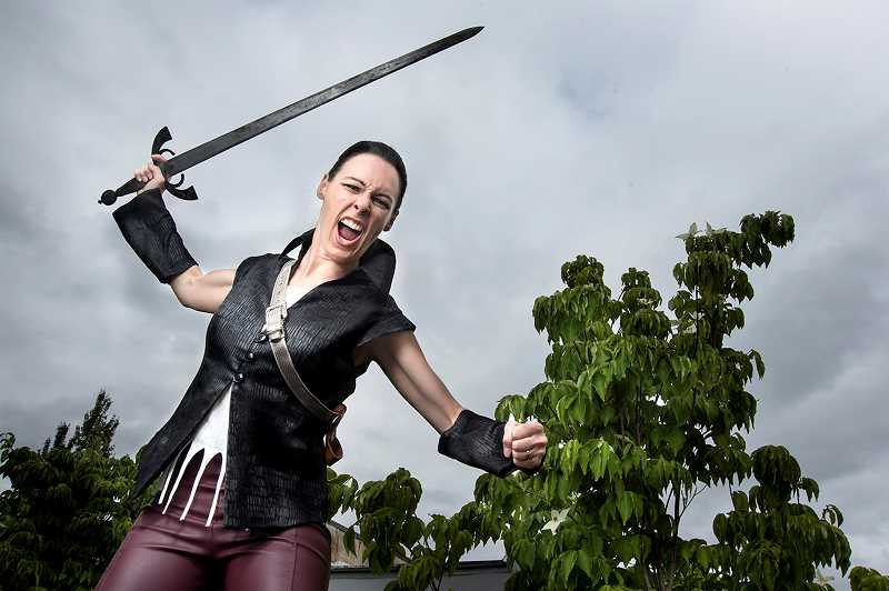 COURTESY PHOTO - Cassie Greer will swing into action as Coriolanus in Bag&Baggages upcoming outdoor production of Shakespeare's 'Coriolanus,' premiering at the Hillsboro Civic Center on July 7.