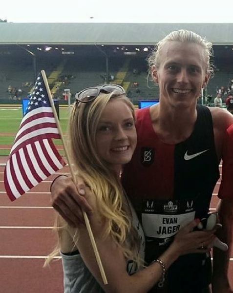 COURTESY: EVAN JAGER - U.S. steeplechase champion Evan Jager of Portland, with fiancee Sofia Hellberg-Jonsen.