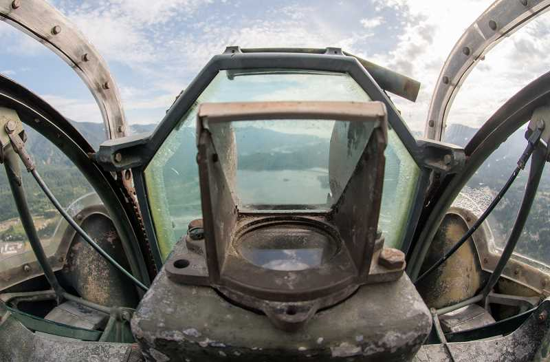 OUTLOOK PHOTO: JOSH KULLA - This is the gun sight for the nose turret on the B-24 containing a pair of .50 caliber machine guns.