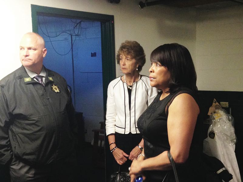PORTLAND TRIBUNE: NICK BUDNICK - Multnomah County Chief Sheriff's Deputy Jason Gates led Commissioners Diane McKeel and Loretta Smith on a tour of the Hansen Building last Thursday.