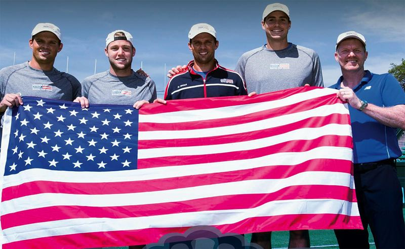 USTA PHOTO: DEREK FISHER - The U.S. Davis Cup team that will play at Tualatin Hills Tennis Center in July will include (left to right) Bob Bryan, Jack Sock, Mike Bryan, John Isner and captain Jim Courier.