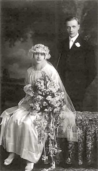 COURTESY OF THE SCHERZINGER FAMILY - This is the wedding portrait from the very first wedding in this remarkable century-long series involving the Scherzinger family of Brooklyn. Here we see Bertha Scherzinger and Charles Lair, on their wedding day, July 10, 1916.
