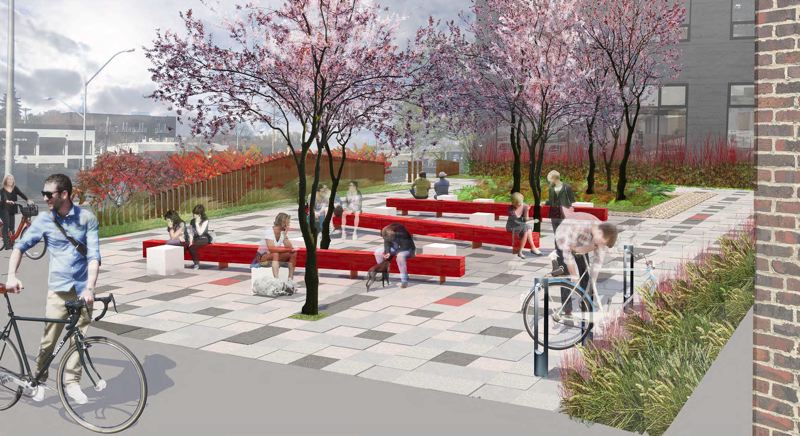 ANKROM MOISAN ARCHITECTS - The parklet, a parking lot site to the north, is currently a dead area for pedestrians and bikers crossing I-405 and is meant to become a green space greeting point or resting place for pedestrians walking toward downtown.