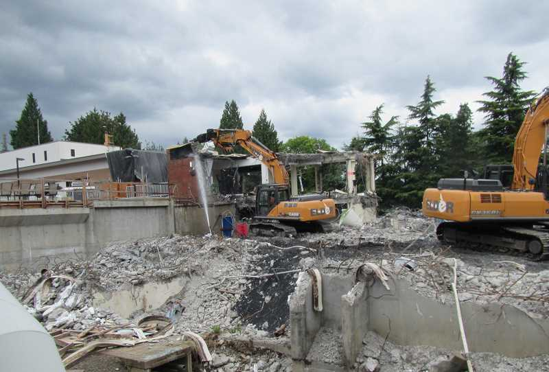 SUBMITTED PHOTO - Demolition of the old administration building at the West Linn treatment facility is one of the last steps in the project. The space will be used for additional filters and equipment for an ozone purification system.
