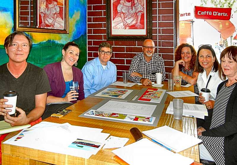 ELIZABETH USSHER GROFF - The Woodstock committee planning new street murals includes, from left: Bryan Gilbert, Cloud City Ice Cream; Elisa Edgington, WNA Chairperson and a Board member of the WCBA; Kevin Myers, Reed College; Gene Dieringer, Dieringers Properties; Erin Beauchamp, Red Fox Vintage; Angie Even, Woodstock Stakeholders; and Laurie Flynn, owner of the Delta Café building.
