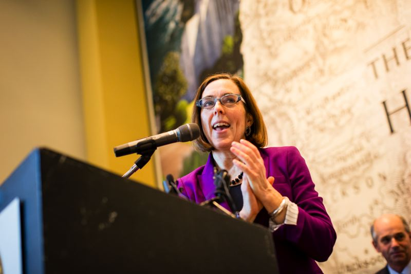 TRIBUNE FILE PHOTO - A new poll says Gov. Kate Brown is tied with Republican Bud Pierce in their campaign for the governor's office.