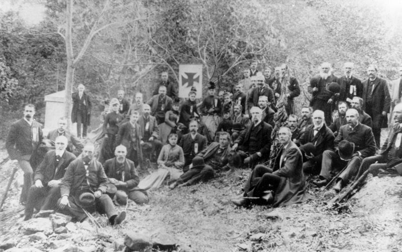 COURTESY PHOTO - Members of the 20th Maine Volunteer Infantry Regiment gathered in 1889 for a reunion. The regiment played key roles in several Civil War battles, including Gettysburg.
