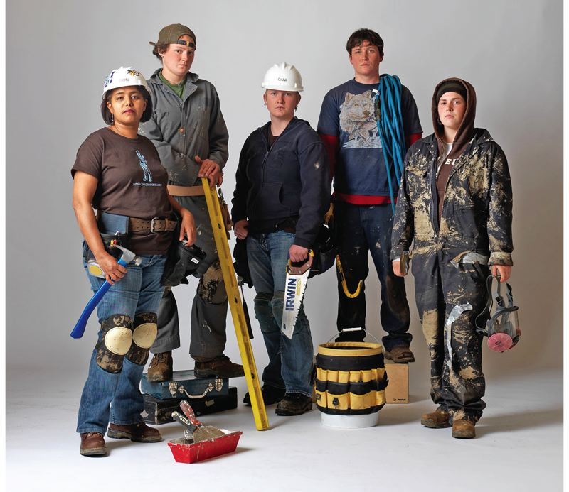 COURTESY PHOTO: LINDSAY CIMINA - These Oregon Tradeswomen pre-apprenticeship students were introduced to a variety of construction trade work in 2010.