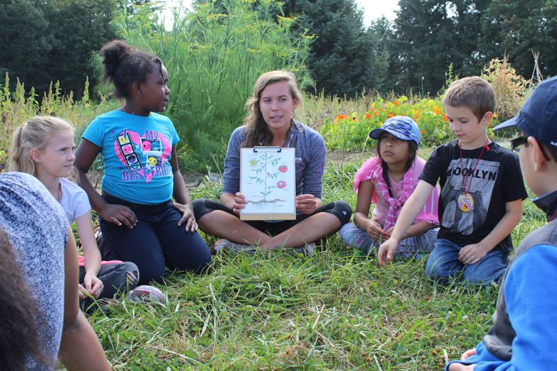 SPOTLIGHT PHOTO: NICOLE THILL - Kate Nootenboom, an intern at the Sauvie Island Center, talks to a group of campers about the various parts of a plant's structure. Learning about the physical aspects of a plant is just one area of education students learn about during the five-day camp.