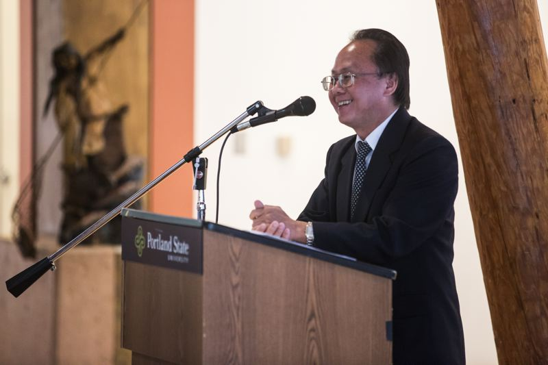 TRIBUNE PHOTO: JONATHAN HOUSE - IRCO Executive Director Lee Po Cha addresses the crowd during the release of Portland State University's New Portlander Report on Aug. 9.
