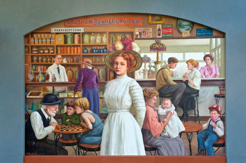 COURTESY PHOTO - The mural shows the artist's vision of what the old Gresham Rexall Drug Co. would have looked like during a busy afternoon.