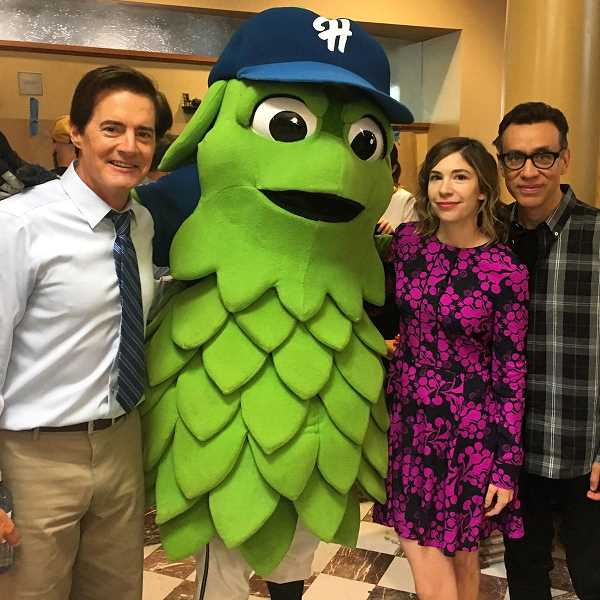 COURTESY HILLSBORO HOPS - Barley, the mascot of the Hillsboro Hops baseball team, poses for a photo next to actors Kyle MacLachlan, Carrie Brownstein and Fred Armisen on Friday during filming of the new season of 'Portlandia.'