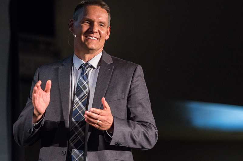 HILLSBORO TRIBUNE PHOTO: CHASE ALLGOOD - Hillsboro Superintendent Mike Scott told teachers on Tuesday that they should spend more time this school year forming relationships with their students. 'We're the ones they have been waiting for,' he said.