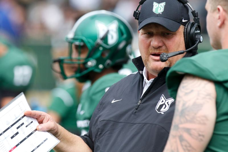 TRIBUNE PHOTO: JONATHAN HOUSE - Portland State football coach Bruce Barnum is winning over fans with his team's style of play, success -- and the prospect of a free beer after a home game.