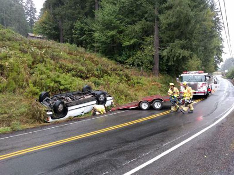 PHOTO COURTESY OF SCAPPOOSE FIRE DEPARTMENT - Crews from the Scappoose Fire Department responded to a single vehicle rollover on Dutch Canyon Road on Tuesday, Sept. 6, at 10:32 a.m. No one was injured in the crash.