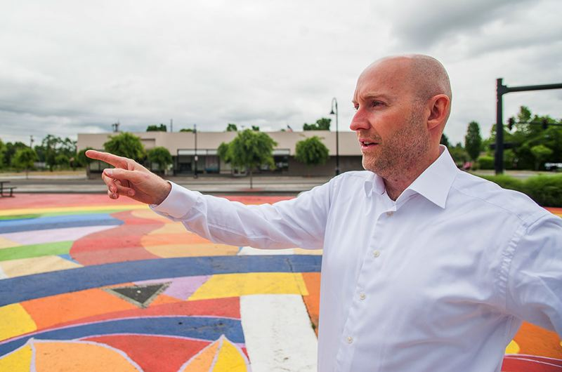 FILE PHOTO - City of Gresham Urban Renewal Director Josh Fuhrer looks over the Rockwood Catalyst Site at the intersection of Southeast 187th Avenue and Stark Street.