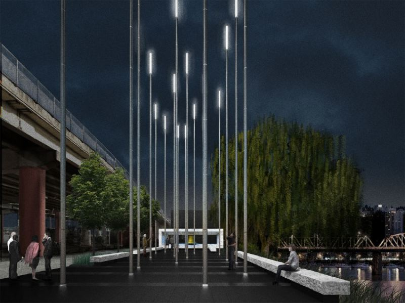 COURTSY WHELTON ARCHITECURE - Artists rendering of David Campell Memorial planned to honor fallen Portland firefighters near Fire Station 21.
