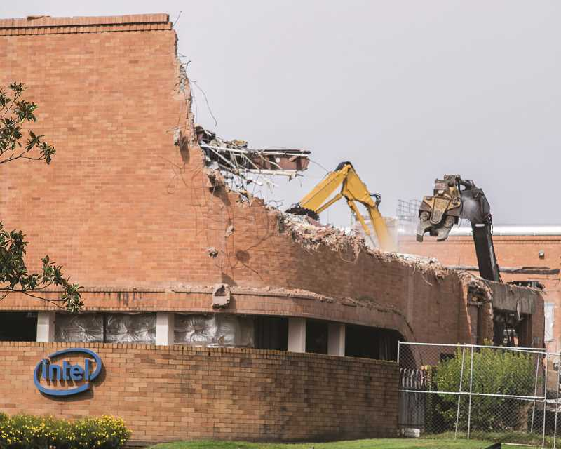 HILLSBORO TRIBUNE PHOTO: CHASE ALLGOOD - Intel's oldest Oregon building, 'Fab 4,' is being torn down this fall after the company announced it no longer wanted to care for the facility. Fab 4 has been empty since 1996.
