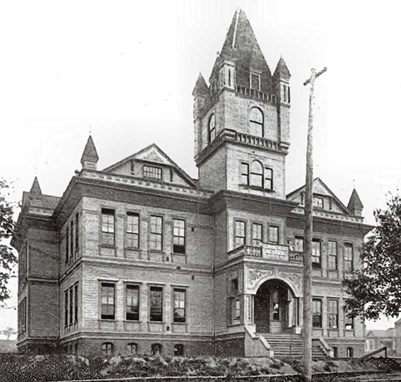 COURTESY OF DANA BECK COLLECTION - A photo of Clinton Kelly Elementary School in 1896. By 1928, it had been closed to move the elementary student body to a new location on Holgate Boulevard, now known as Grout School - so on June 1, 1929, this building was rededicated as the Clinton Kelly School of Commerce - later, Commerce High School - and now, Cleveland High. Over 800 students registered for classes on opening day in the fall of 1929.