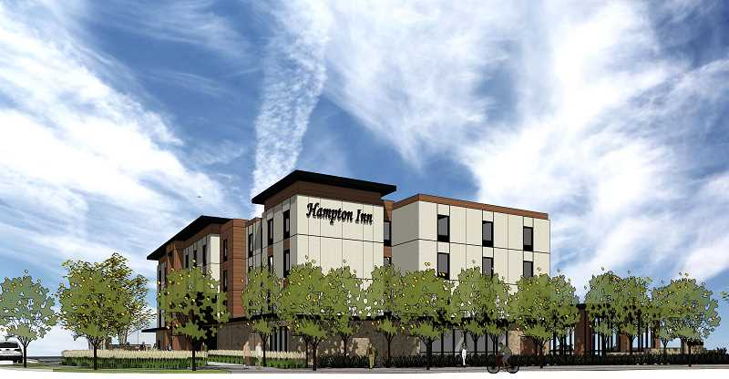COURTESY OF HILL ARCHITECTS - Plans to build a Hampton Inn at Highway 99W and Meineke Road have been submitted to the city of Sherwood. The hotel next to the assisted living complex could be within the Hilton Hotel chain as well, owner of Hampton Inns.