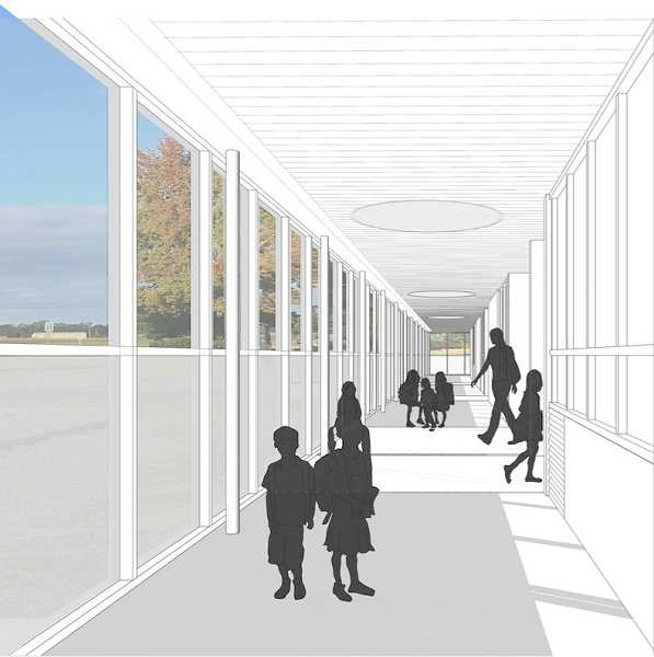 DOLE, OLSON, WEEKS ARCHITECTS  - Right now Mulino Elementary School classroom doors all open out to the outdoors. The children must go outdoors to enter and leave the classrooms. An architectural rendering, above, shows what enclosed corridors for Mulino Elementary School would look like, should voters pass Bond Measure 3-504. The proposed enclosed corridor at Mulino is one of several building construction projects that would be funded with the bond money.