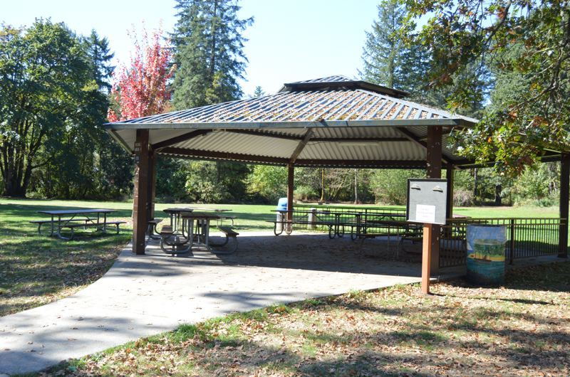 SPOTLIGHT PHOTO: NICOLE THILL - A covered picnic shelter in McCormick Park. The city will build a second covered shelter by next summer thanks to a $15,810 matching grant from Oregon Parks and Recreation.