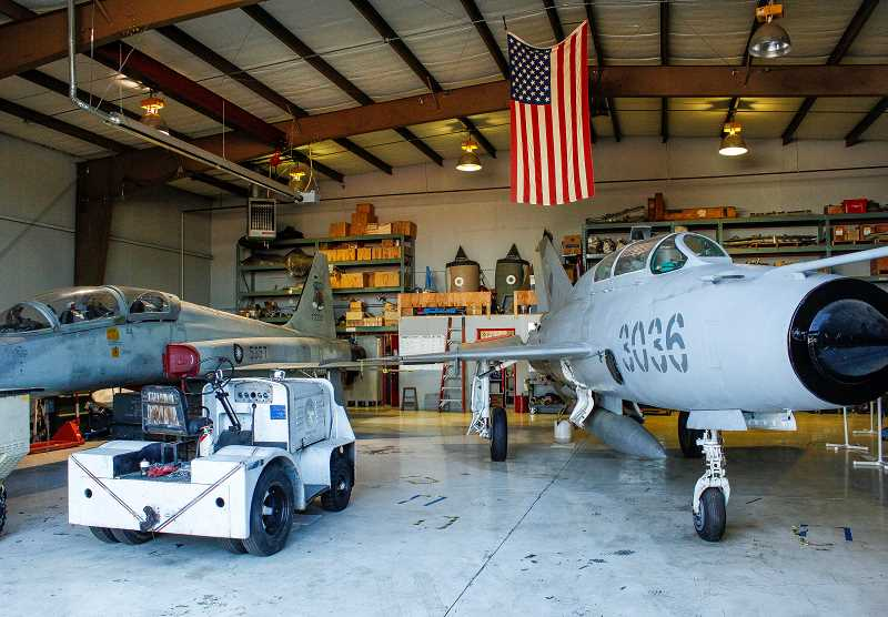 HILLSBORO TRIBUNE PHOTO: TRAVIS LOOSE - Inside the workshop hangar, visitors are treated to exposed jet engines, an array of ejector seats and three more classic aircraft, including a Lockheed F-104 Starfighter from 1965.