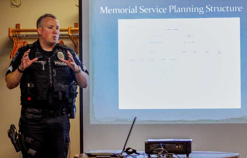 HILLSBORO TRIBUNE PHOTO: TRAVIS LOOSE - Sgt. Eric Bunday with the Hillsboro Police Department speaks to fellow officers last Thursday at a training in St. Helens on how to respond when officers die in the line of duty.