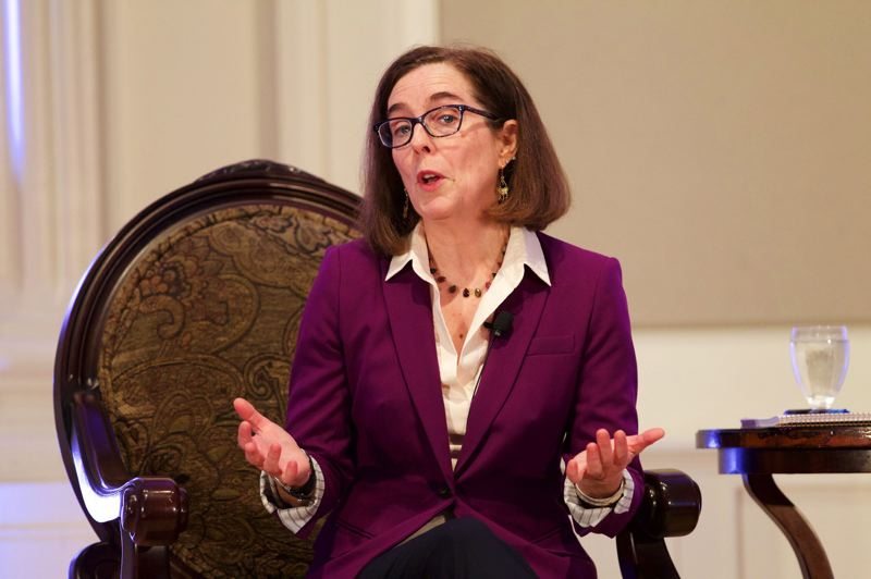 PHOTO BY JAIME VALDEZ - Governor Kate Brown talks about her support for Measure 97 and other pressing issues for the state at a Portland Business Alliance Breakfast Forum at the Sentinel Hotel.
