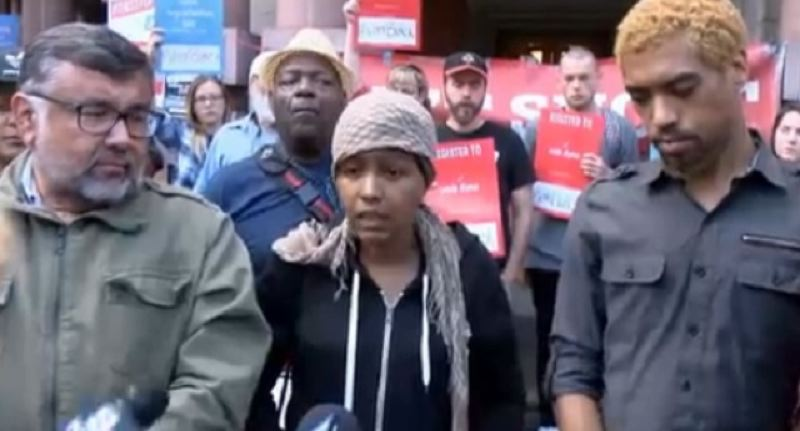 COURTESY PHOTO: KOIN 6 NEWS - Don't Shoot PDX organizer Teressa Raiford, center, called Mayor Charlie Hales 'a liar' after a Tuesday afternoon meeting with Black Lives Matter protesters was moved from City Hall.