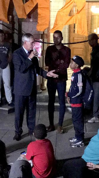 COURTESY PHOTO: NATHANIEL TORRY-SCHRAG - Mayor Charlie Hales talked with Black Lives Matter protesters Tuesday evening outside City Hall. Hales agreed to talk with protesters after a protest Friday afternoon.