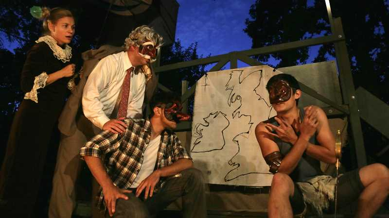 SUBMITTED PHOTO: MEAGAN CUTHILL - From left to right, Julia Brezeanu, Ryan Westwood, Matt Sepeda and Ken Yoshikawa perform Shakespeares King Lear earlier this summer.