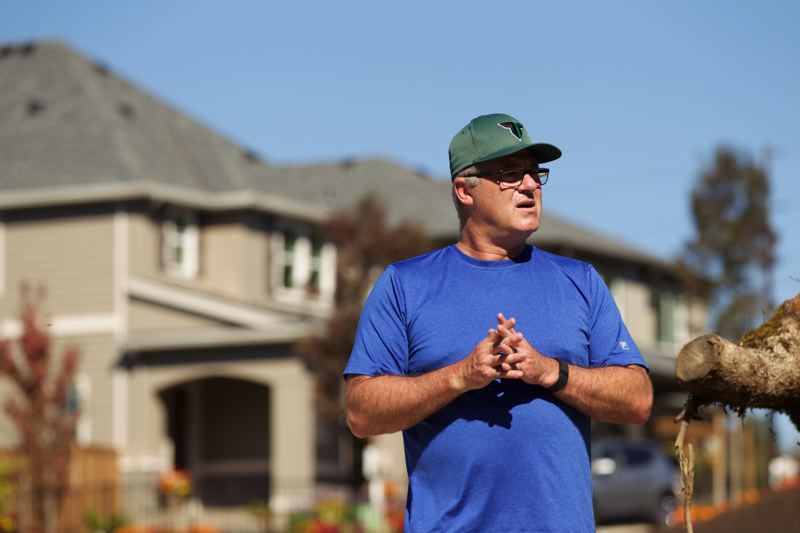 TIMES PHOTO: JAIME VALDEZ - Jim Lange, president of Pacific Community Design, stands at the River Terrace development on the corner of Southwest Scholls Ferry Road and Southwest Roy Rogers Road. Pacific Community Design is the project developer for Polygon Northwest.