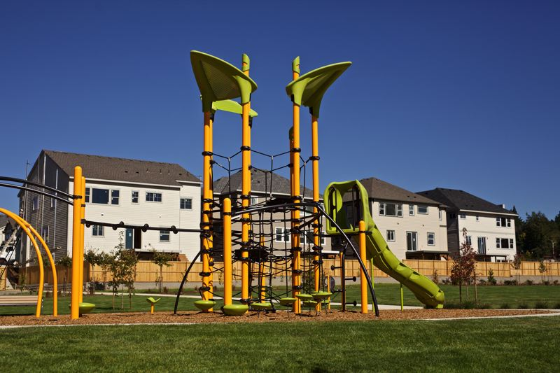 TIMES PHOTO: JAIME VALDEZ - A playground and a shelter sit on a hill at the River Terrace development west of Southwest 150th Avenue. Orchard Park, as it is called, will eventually become part of Tigard's public parks system.