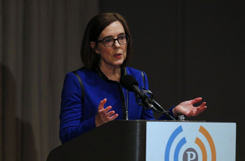 TRIBUNE PHOTO: JONATHAN HOUSE - Gov. Kate Brown said Friday, Sept. 30, that she has been a victim of domestic abuse. The revelation came during a debate at the City Club of Portland.