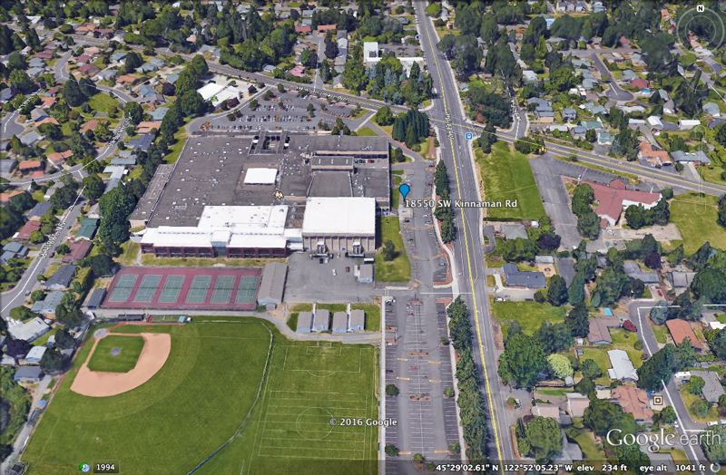 COURTESY GOOGLE EARTH - Four people, including two Aloha High School student, were injured Friday, Sept. 30, when they were struck by an SUV outside the school.