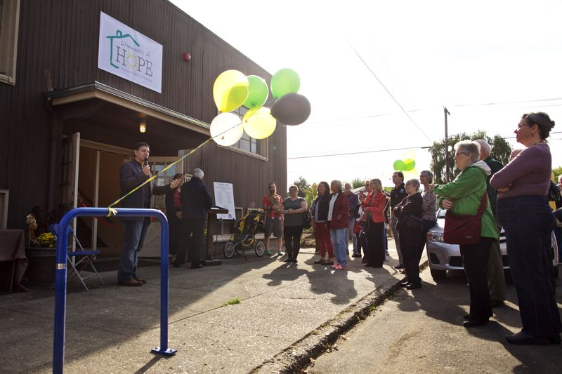 PORTLAND TRIBUNE: JAIME VALDEZ - Community of Hope supporters gathered outside the expanded shelter to celebrate the completion of its expansion last Thursday.