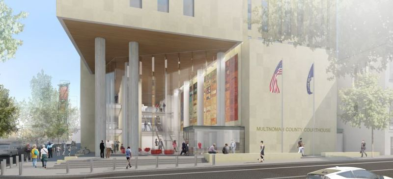 COURTESY OF MULTNOMAH COUNTY - A rendering shows the new courthouse's entrance.