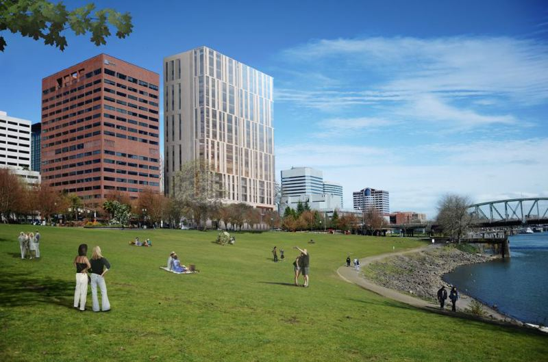 COURTESY OF MULTNOMAH COUNTY - A rendering shows what the new courthouse will look like from Tom McCall Waterfront Park.