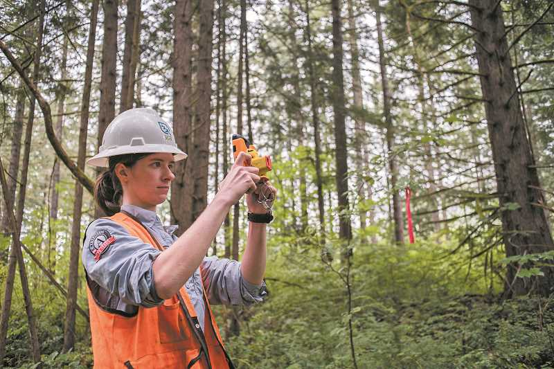 NEWS-TIMES PHOTOS: CHASE ALLGOOD - Bridget Likely of the Student Conservation Association demonstrates the application and hardware used for cataloging forest lands.