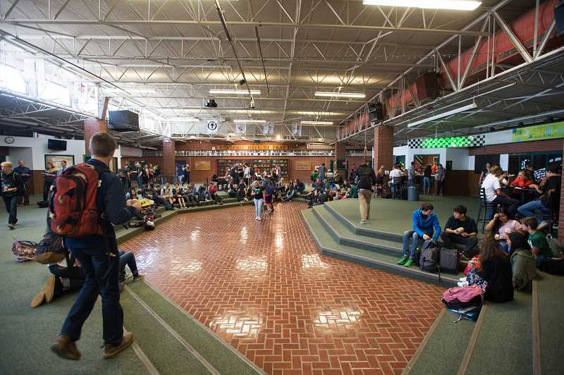 NEWS PHOTO: JOSH KULLA - Administrators say the Estacada High School commons, shown here, is a security risk to students and staff because it is publicly accessible during school hours. The aim is to close this and other security loopholes through passage of a bond measure.